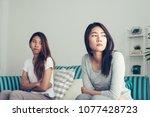 young asian lesbian couple...   Shutterstock . vector #1077428723