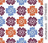 seamless pattern with stylized... | Shutterstock .eps vector #1077440303
