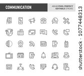 30 thin line icons associated... | Shutterstock .eps vector #1077448313