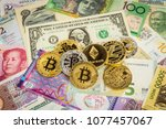 cryptocurrency set  bitcoins ... | Shutterstock . vector #1077457067