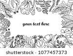 hand drawn doodle floral frame... | Shutterstock .eps vector #1077457373