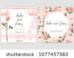 save the date card  wedding... | Shutterstock .eps vector #1077457583