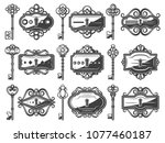 antique metal keyholes set with ... | Shutterstock .eps vector #1077460187