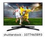 watching smart tv translation... | Shutterstock . vector #1077465893