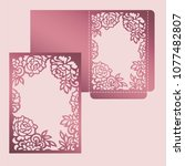 floral frame card. wedding... | Shutterstock .eps vector #1077482807