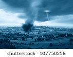 lightning and tornado in the valley - stock photo