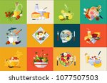 flat vector set of dishes and... | Shutterstock .eps vector #1077507503