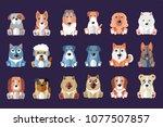 flat vector set of cute dogs of ...   Shutterstock .eps vector #1077507857