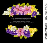 beautiful floral frame on black ... | Shutterstock .eps vector #1077514973