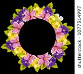 beautiful floral frame on black ... | Shutterstock .eps vector #1077514997