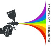 spray gun with colored paint in ...   Shutterstock .eps vector #1077519623