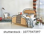luxury and modern bedroom style ... | Shutterstock . vector #1077547397
