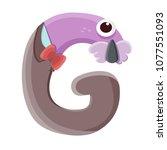 monster g alphabet with flat... | Shutterstock .eps vector #1077551093
