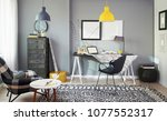 grey room workplace and home... | Shutterstock . vector #1077552317