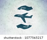 insurance concept  painted blue ... | Shutterstock . vector #1077565217