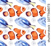 seamless watercolor sea fish... | Shutterstock . vector #1077568073