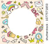 round frame with hand drawn... | Shutterstock .eps vector #1077571853