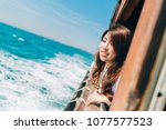 young woman traveling in the... | Shutterstock . vector #1077577523