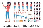 woman in virtual reality... | Shutterstock .eps vector #1077581447