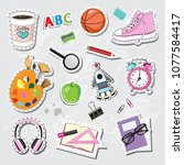 fashion patch badges with... | Shutterstock .eps vector #1077584417