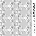 3d white paper art check curve... | Shutterstock .eps vector #1077604247