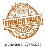 Grunge rubber stamp, with the text french fries written inside, vector illustration - stock vector