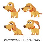 cute cartoon dog with different ...