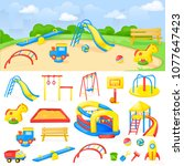 playground park cartoon vector... | Shutterstock .eps vector #1077647423