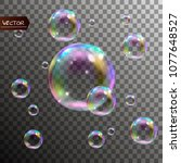 realistic soap bubbles with... | Shutterstock .eps vector #1077648527