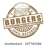 Grunge rubber stamp, with the text burgers written inside, vector illustration - stock vector