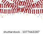 peru flags garland white... | Shutterstock .eps vector #1077663287