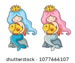 beautiful mermaids with golden... | Shutterstock .eps vector #1077666107