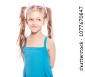 young seven years old brunette...   Shutterstock . vector #1077670847