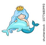 mermaid with wavy long blue... | Shutterstock .eps vector #1077680993