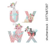 cute watercolor alphabet with...   Shutterstock . vector #1077687287