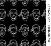 skull with bandana vector... | Shutterstock .eps vector #1077695177