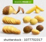 raw potatoes set on transparent ... | Shutterstock .eps vector #1077702317