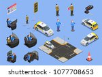 driving school isometric icons... | Shutterstock .eps vector #1077708653