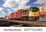container freight train with... | Shutterstock . vector #1077721433