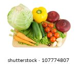 vegetables on wooden cutting... | Shutterstock . vector #107774807