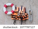 life buoy and life jacket... | Shutterstock . vector #1077787127