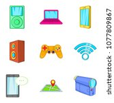 portable device icons set....   Shutterstock .eps vector #1077809867