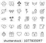 thin line icon set   rose... | Shutterstock .eps vector #1077835097