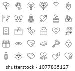 thin line icon set   rose... | Shutterstock .eps vector #1077835127