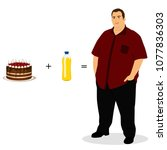 fat man. unhealthy lifestyle.... | Shutterstock .eps vector #1077836303