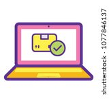 laptop screen with delivery... | Shutterstock .eps vector #1077846137