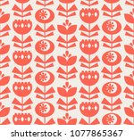 seamless pattern with flowers... | Shutterstock .eps vector #1077865367