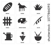set of 9 simple editable icons... | Shutterstock .eps vector #1077866093