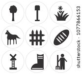 set of 9 simple editable icons... | Shutterstock .eps vector #1077866153