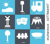 set of 9 simple editable icons... | Shutterstock .eps vector #1077866447
